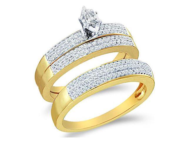 10k Two 2 Tone Gold Trio 3 Three Ring Matching Engagement Wedding Ring Band Set - Marquise and Round Diamonds - Solitaire Center Setting w/ Side Stones (1/2 cttw, H Color, I1 Clarity)