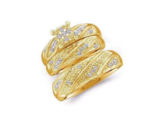 10k Yellow Gold Trio 3 Three Ring Matching Engagement Wedding Ring Band Set - Round Diamonds - Princess Shape Center Setting  (1/4 cttw, H Color, I1 Clarity)