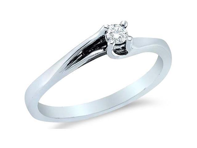 14k White Gold Diamond Small Engagement Solitaire Cross Over Band Round Brilliant Cut Diamond Ring  (.09 cttw, H Color, I1 Clarity)