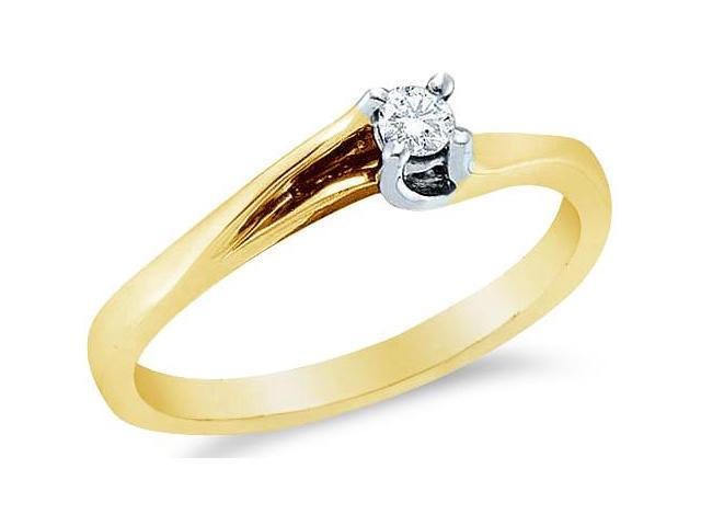 14k Yellow Gold Diamond Small Engagement Solitaire Cross Over Band Round Brilliant Cut Diamond Ring  (.09 cttw, H Color, I1 Clarity)