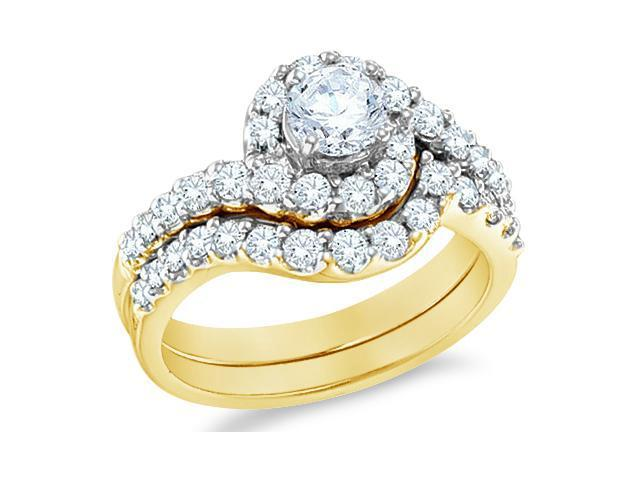 14k Yellow Gold Diamond Ladies Engagement Ring Wedding Band Two 2 Ring Set Solitaire Side Stones Halo Round Cut Diamond Ring 12mm (1.44 cttw, 0.44 ct Center, G - H Color, SI2 Clarity)