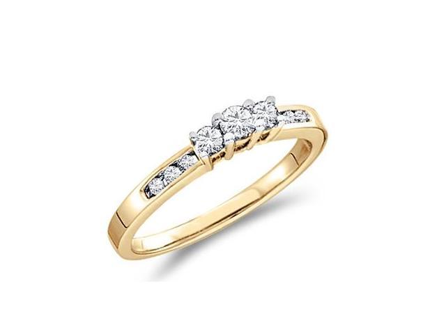 Solid 14k Yellow Gold 3 Three Stone Round Brilliant Cut Diamond Engagement or Anniversary Ring Band with Side Stones (1/4 cttw, H Color, I1 Clarity)