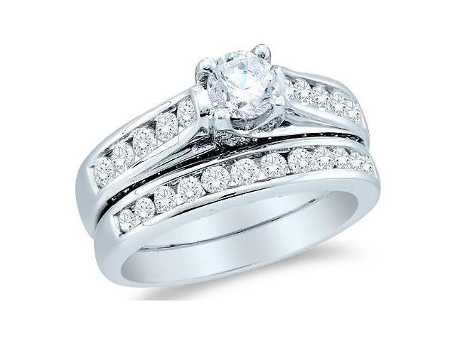 14k White Gold Diamond Classic Traditional Engagement Ring Wedding Band Two 2 Ring Set Solitaire Side Stones Round Cut Diamond Ring  (1.43 cttw, 1/2 ct Center, G - H Color, SI2 Clarity)