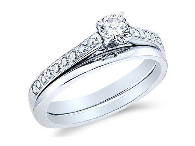 14k White Gold Diamond Classic Traditional Engagement Ring w/ Plain Solid Wedding Band Solitaire Side Stones Round Cut Diamond Ring 3mm (1/2 cttw, 1/3 ct Center, G - H Color, SI2 Clarity)