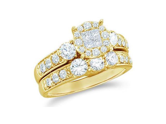 14k Yellow Gold Diamond Engagement Ring Wedding Band Two 2 Ring Set Solitaire Style Center Setting Three 3 Stone Side Stones LargeDiamond Ring (1.47 cttw, G - H Color, SI2 Clarity)