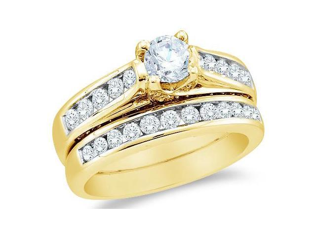 14k Yellow Gold Diamond Classic Traditional Engagement Ring Wedding Band Two 2 Ring Set Solitaire Side Stones Round Cut Diamond Ring  (1.43 cttw, 1/2 ct Center, G - H Color, SI2 Clarity)