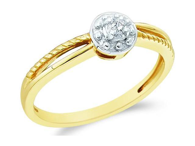 10k Yellow Gold Solitaire Style Round Cut Diamond Engagement Ring 5mm (.05 cttw, H Color, I1 Clarity)