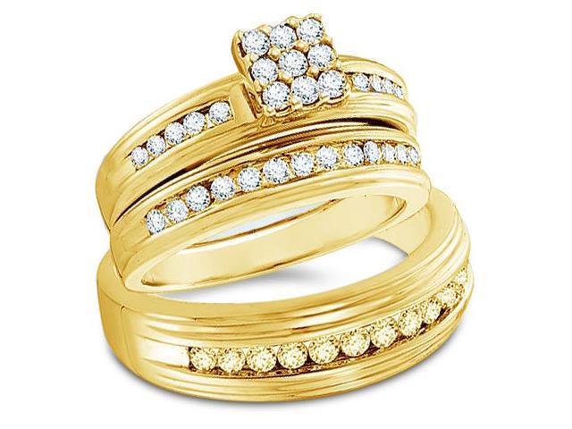 14k Yellow Gold Trio 3 Three Ring Matching Engagement Wedding Ring Band Set - Round Diamonds - Princess Shape Center Setting w/ Side Stones (1.0 cttw, H Color, I1 Clarity)