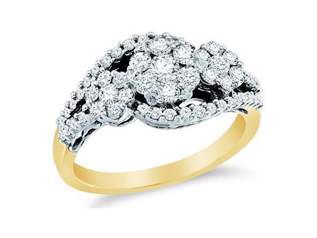14k Yellow Gold Diamond Engagement Anniversary Three 3 Stone Type Setting Side Stones Flower Shape Center  Round Brilliant Cut Diamond Ring 22mm (1.0 cttw, H Color, I1 Clarity)