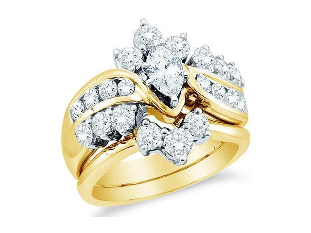14k Yellow Gold Diamond Engagement Ring Wedding Band Two 2 Ring Set Solitaire Side Stones Marquise and Round Cut Diamond Ring  (1.99 cttw, 2/5 ct Center, G - H Color, SI2 Clarity)