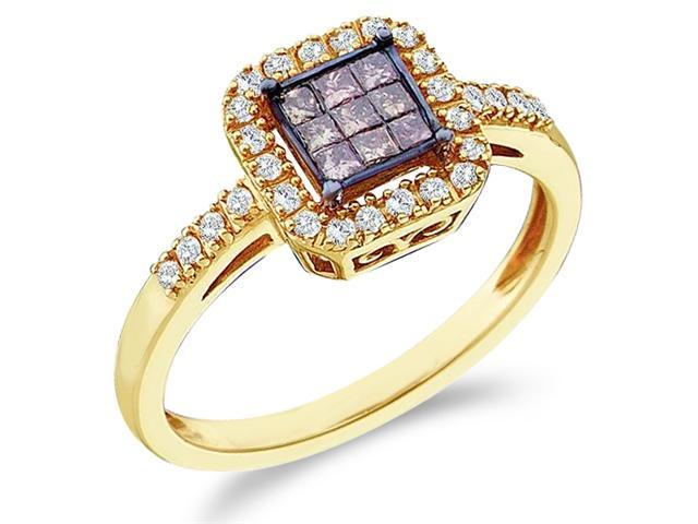 14k Yellow Gold Diamond Engagement Solitaire Style Center Setting Chocolate Brown and White Diamond Princess and Round Brilliant Cut Diamond Ring 9mm (1/3 cttw, H Color, I1 Clarity)