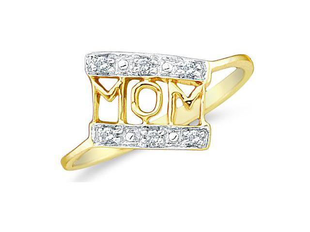 14k Yellow and White Two 2 Tone Gold MOM Mothers Day Heart Love Marquise Shape Cluster Round Cut Ladies Diamond Fashion Ring Band 8mm (.06 cttw, H Color, I1 Clarity)