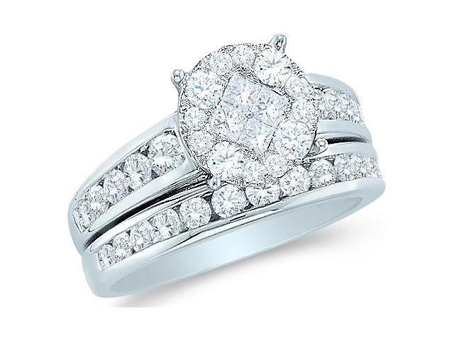 14k White Gold Diamond Engagement Ring Wedding Band Two 2 Ring Set Solitaire Style Center Setting Side Stones Princess and Round Cut Diamond Ring 10mm (1.0 cttw, G - H Color, SI2 Clarity)