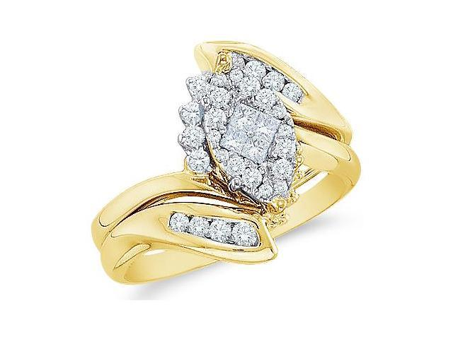 14k Yellow Gold Diamond Engagement Ring Wedding Band Two 2 Ring Set Solitaire Style Center Setting Marquise Shape CenterDiamond Ring13mm (1/2 cttw, G - H Color, SI2 Clarity)