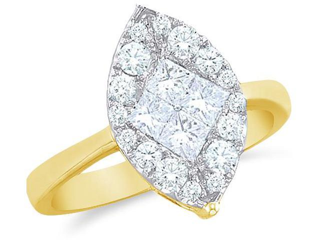 14k Yellow Gold Diamond Engagement Solitaire Style Center Setting Marquise Shape Center Princess and Round Brilliant Cut Diamond Ring 12mm (1/4 cttw, G - H Color, SI2 Clarity)