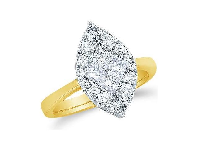 14k Yellow Gold Diamond Engagement Solitaire Style Center Setting Marquise Shape Center Princess and Round Brilliant Cut Diamond Ring 17mm (.99 cttw, G - H Color, SI2 Clarity)