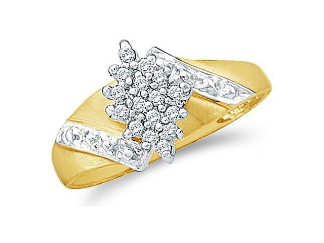 10k White and Yellow Two 2 Tone Gold Marquise Shape Center Cluster Style Round Cut Diamond Engagement Ring 10mm (1/8 cttw, H Color, I1 Clarity)