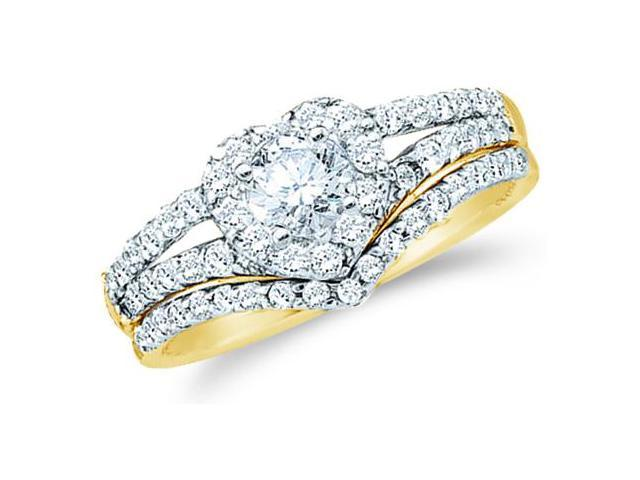 14k Yellow Gold Diamond Ladies Engagement Ring Wedding Band Two 2 Ring Set Solitaire Side Stones Heart Love Round Cut Diamond Ring 8mm (3/4 cttw, 1/4 ct Center, G - H Color, SI2 Clarity)
