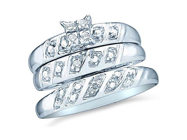 10k White Gold Trio 3 Three Ring Matching Engagement Wedding Ring Band Set - Round Diamonds - Princess Shape Center Setting  (.08 cttw, H Color, I1 Clarity)