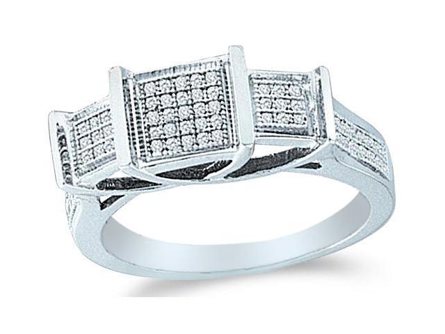 Solid 10k White Gold 3 Three Stone Square Setting Engagement Ring Band with Micro Pave Set Round Diamonds  (1/5 cttw, H Color, I1 Clarity)