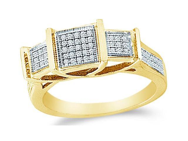 Solid 10k Yellow Gold 3 Three Stone Square Setting Engagement Ring Band with Micro Pave Set Round Diamonds  (1/5 cttw, H Color, I1 Clarity)