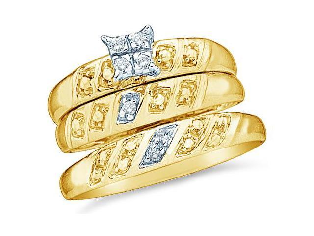 10k Yellow Gold Trio 3 Three Ring Matching Engagement Wedding Ring Band Set - Round Diamonds - Princess Shape Center Setting  (.08 cttw, H Color, I1 Clarity)