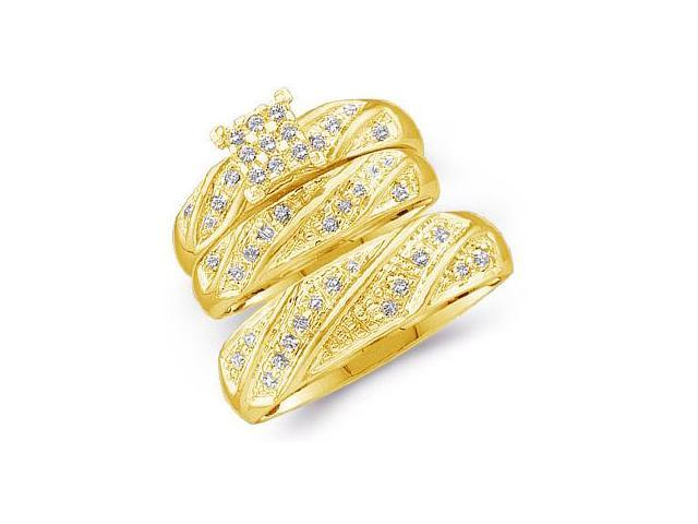 14k Yellow Gold Trio 3 Three Ring Matching Engagement Wedding Ring Band Set - Round Diamonds - Princess Shape Center Setting  (1/4 cttw, H Color, I1 Clarity)