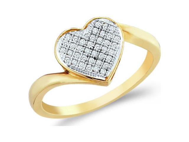 10k Yellow and White Two 2 Tone Gold Love Heart Shape Center Micro Pave Setting Round Cut Ladies Diamond Fashion Ring Band 8mm (.05 cttw, H Color, I1 Clarity)