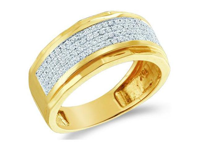 10k Yellow Gold Wide Four 4 Row Micro Pave Set Round Cut Mens Diamond Wedding Ring Band 9mm (1/3 cttw, H Color, I1 Clarity)