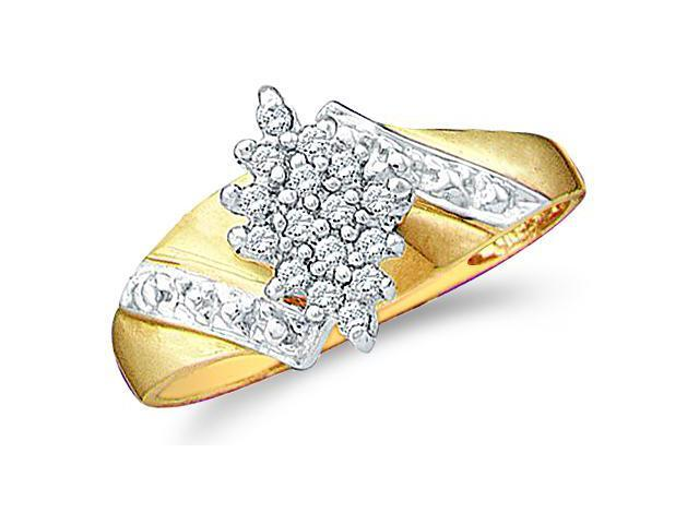 10k Yellow and White Two 2 Tone Gold Marquise Shape Center Cluster Style Round Cut Diamond Engagement Ring 10mm (1/8 cttw, H Color, I1 Clarity)