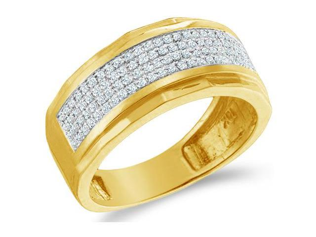 10k White Gold Wide Four 4 Row Micro Pave Set Round Cut Mens Diamond Wedding Ring Band 9mm (1/3 cttw, H Color, I1 Clarity)