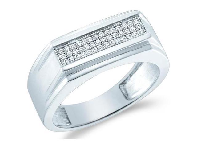 10k White Gold Three 3 Row Milgrain Micro Pave Set Round Cut Mens Diamond Wedding Ring Band 8mm (.15 cttw, H Color, I1 Clarity)