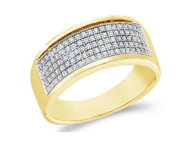 10k Yellow Gold Wide Five 5 Row Milgrain Micro Pave Set Round Cut Mens Diamond Wedding Ring Band 8mm (.30 cttw, H Color, I1 Clarity)