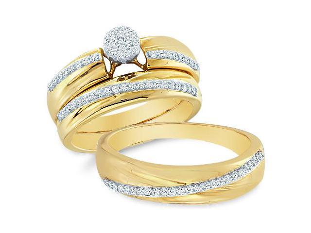 14k Yellow and White 2 Two Tone Gold Trio 3 Three Ring Matching Engagement Wedding Ring Band Set - Round Diamonds - Micro Pave Round Shape Center Setting (2/5 cttw, H Color, I1 Clarity)
