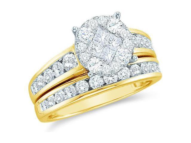 14k Yellow Gold Diamond Engagement Ring Wedding Band Two 2 Ring Set Solitaire Style Center Setting Side Stones Princess and Round Cut Diamond Ring  (.55 cttw, G - H Color, SI2 Clarity)