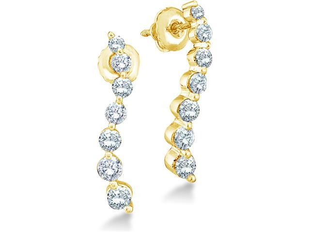 14k Yellow Gold Round 7 Seven Diamond Dangle Twist Journey Earrings - 17mm Height * 3mm Width (1/2 cttw, G - H Color, SI2 Clarity)