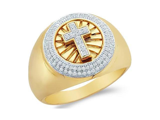 10k Yellow and White Two 2 Tone Gold Cross Fashion Micro Pave Set Round Cut Mens Diamond Wedding Ring Band (.30 cttw, H Color, I1 Clarity)