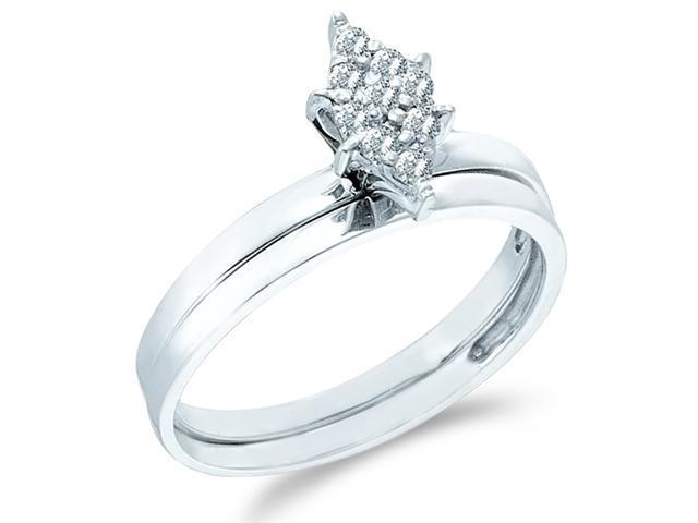 10k White Gold Diamond Engagement Ring w/ Plain Wedding Band Solitaire Style Center Setting Pave Marquise Shape Center Round Cut Diamond Ring 2mm (.06 cttw, H Color, I1 Clarity)