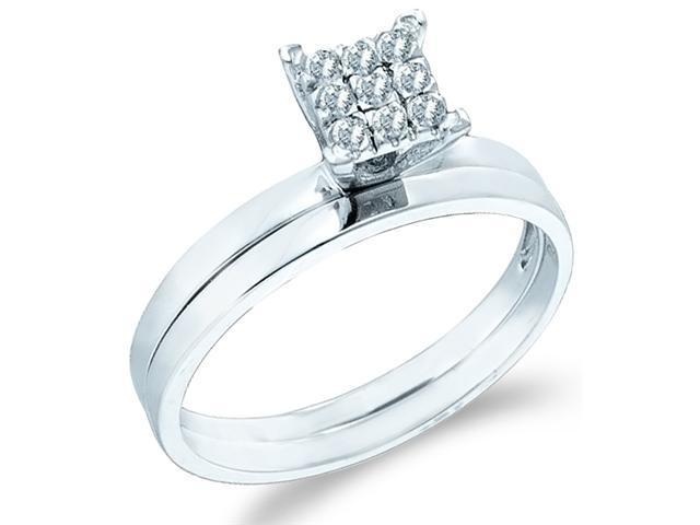 10k White Gold Diamond Engagement Ring Princess Shape w/ Plain Wedding Band Solitaire Style Center Setting Pave Round Cut Diamond Ring 2mm (1/10 cttw, H Color, I1 Clarity)