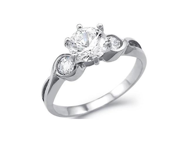 Solid 14k White Gold Three 3 Stone Engagement Wedding CZ Cubic Zirconia Ring Round Cut 1.5 ct