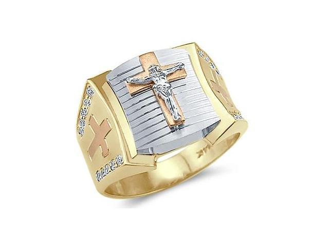 Solid 14k Tri-Color Gold Mens Large Cross Crucifix Ring
