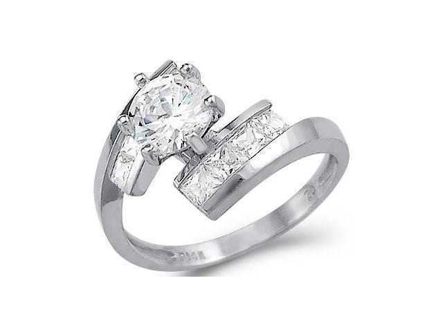 Solid 14k White Gold Round & Princess Cut CZ Cubic Zirconia Engagement Ring 2.0 ct