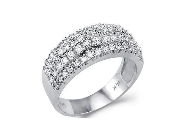 Solid 14k White Gold Round CZ Cubic Zirconia Wedding Anniversary Band Ring 2.0 ct