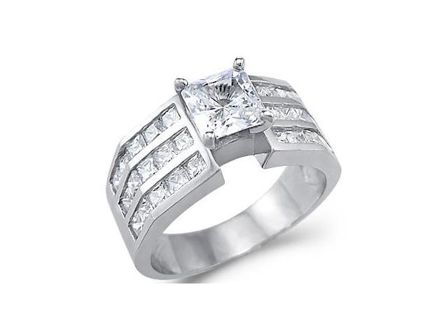 Solid 14k White Gold Princess Cut CZ Cubic Zirconia Engagement Wedding Ring 2.0 ct