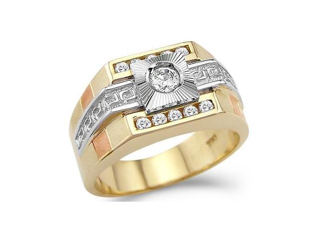 Solid 14k Yellow Two Tone Gold Mens Wedding CZ Cubic Zirconia Ring Band 0.75 ct