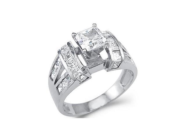 Large Solid 14k White Gold Princess Cut CZ Cubic Zirconia Engagement Ring 2.0 ct