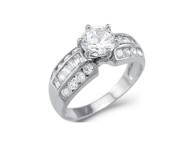 Solid 14k White Gold Round Baguette CZ Cubic Zirconia Engagement Ring 2.5 ct