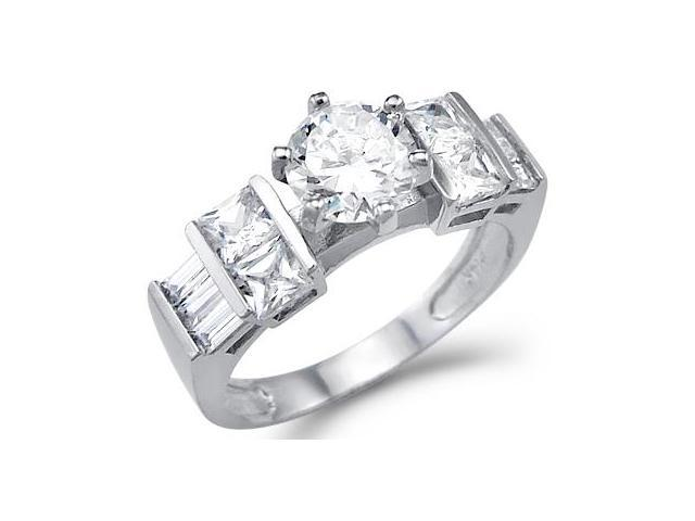 New Solid 14k White Gold Large Round CZ Cubic Zirconia Big Engagement Ring 2.5 ct