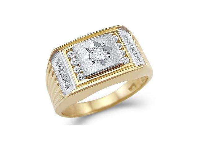 Solid 14k Yellow And White Two Tone Gold Mens Wedding CZ Cubic Zirconia Ring
