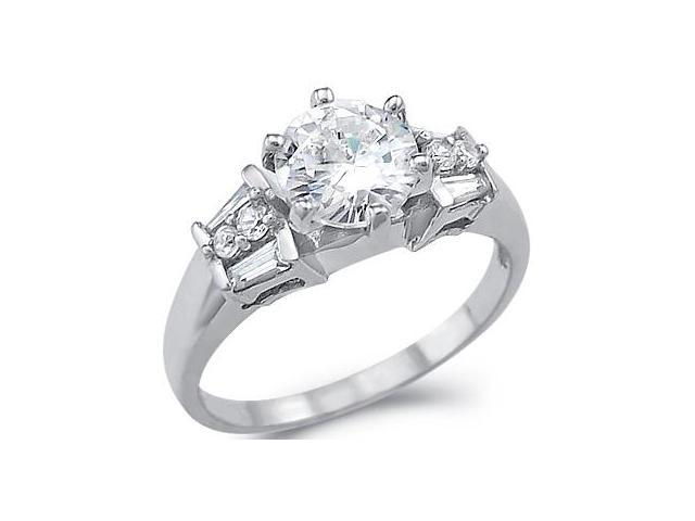 Solid 14k White Gold Round Solitaire CZ Cubic Zirconia Engagement Ring New 1.5 ct